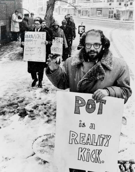 Allen Ginsberg: Allen Ginsberg (1927-1997), American Beat poet, leads a group of demonstrators outside the Women's House of Detention in Greenwich Village, demanding the release of prisoners arrested for use or possession of marijuana. 1965.