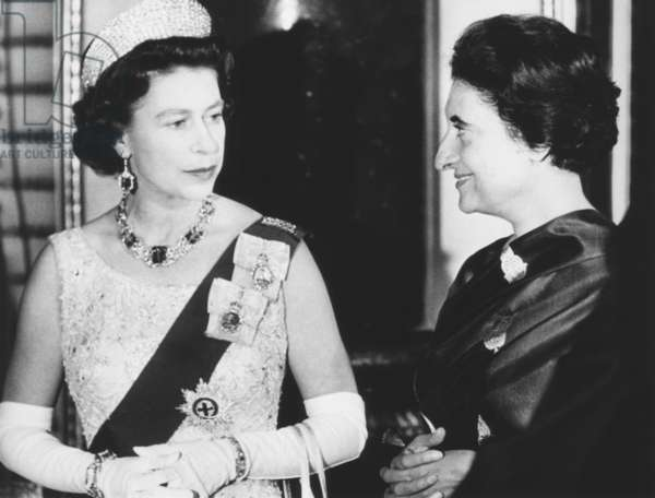 Queen Elizabeth with Indian Prime Minister Indira Gandhi at Buckingham Palace. They were attending a reception for Commonwealth Prime Ministers. Jan 12, 1969