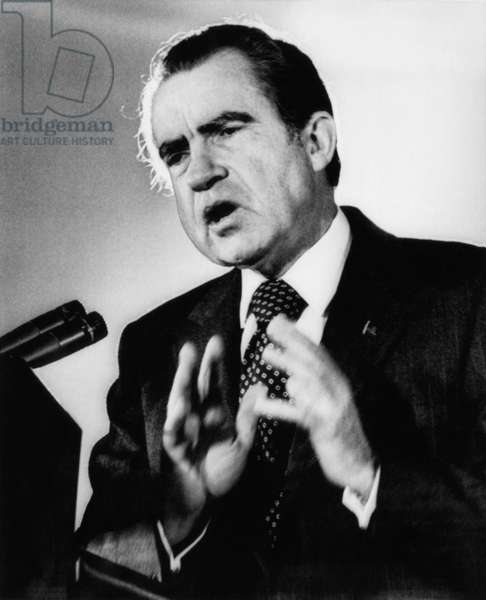 Nixon Presidency. US President Richard Nixon, speaking at a convention of the Seafarers Internation Union, Washington, D.C., 1973