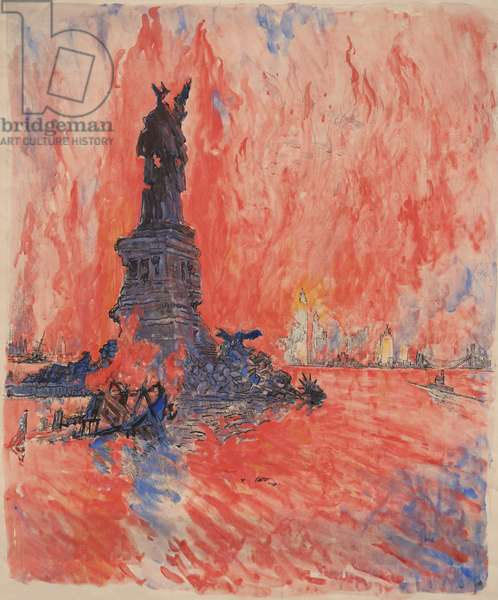 New York City, bombed, shot down, burning, blown up by the enemy, is how artist Joseph Pennell described his 1918 painting for a World War I Liberty Bond drive