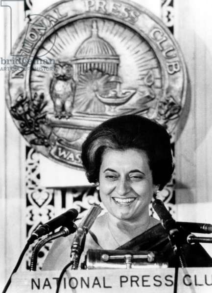 Indian Prime Minister, Indira Ghandi as she speaks at a luncheon meeting of the National Press Club, March 29, 1966
