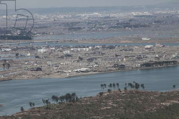 Aerial view of Sendai Japan on March 19 2011 a week after an 9.0 magnitude earthquake and tsunami devastated the area.,