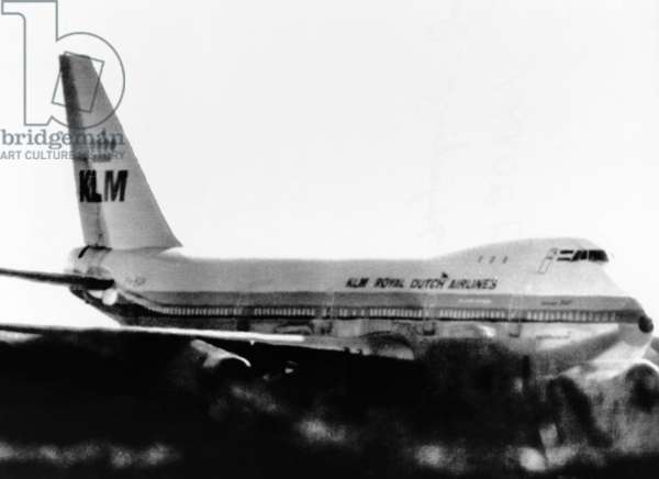 Hijacked Dutch Airliner in Tripoli, Libya. Arab hijackers took the KLM Jumbo Jet to airports in Syria, Cyprus, Libya, and Malta. Eventually the 247 passengers and 17 crew were released in Malta and the hijackers received a safe passage guarantee to Abu Dhabi. Nov. 25-27, 1973