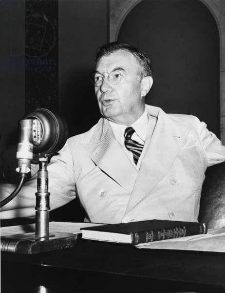 Robert H. Jackson (1892-1954), Associate Justice of the United States Supreme Court from 1941 to 1954. Jackson served as chief U.S. prosecutor in the Nuremberg trials of former German leaders in 1945-46. Alec Baldwin played Jackson in the 2002 film NUREMBERG