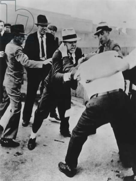 Battle of the Overpass at Ford River Rouge plant. Ford thugs vs. UAW. May 1937. Richard Frankenstein resists as he is beaten by Ford 'Service Department' thugs. Photo by James Kilpatrick of the Detroit News