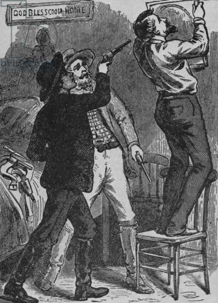 Bob Ford murdering Jesse James. His brother, Charles and Bob were Jesse's last partners, and may have been acting as a government agents or a reward seekers. The engraving shows the scene with Jesse in their hideout, turning to adjust a picture on the wall, giving Bob Ford a chance to shoot James in the back of the head. April 3, 1882