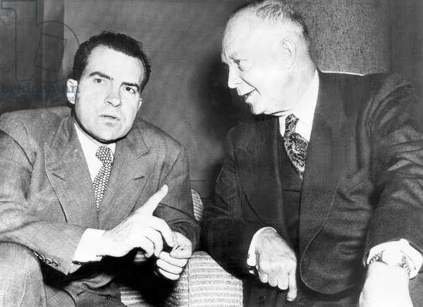 Future U.S. President Richard Nixon (then running for Vice President), and future President Dwight D. Eisenhower, going over a speech for Eisenhower's Presidential campaign, November 3, 1952