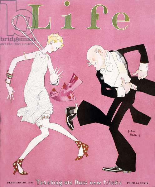 Teaching Old Dogs New Tricks, is the title of John Held's cover for Life magazine. In February 1926, flappers and the Charleston were the height of style