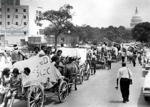 6/25/68 WASHINGTON: The mule train that was a symbol of the Poor People's Campaign finally crossed the river into Washington 6/25. The train is shown as it approaches the U.S. Capitol. Rev. Walter Fauntroy, head of Washington SCLC, said it will carry the Poor People's message throughout the District of Columbia in an effort to mobilize Washington residents.