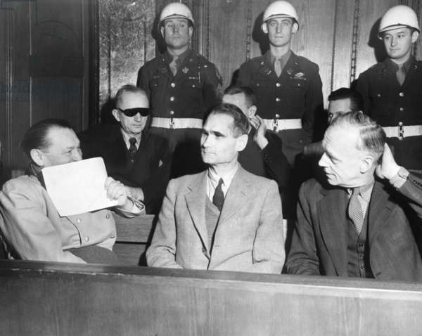 Nazi defendants under guard in the dock at Nuremberg War Crimes Trial, Feb. 5, 1946.