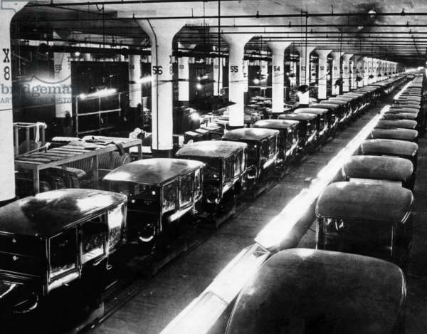 Early Ford Motor Company assembly line, c 1920s