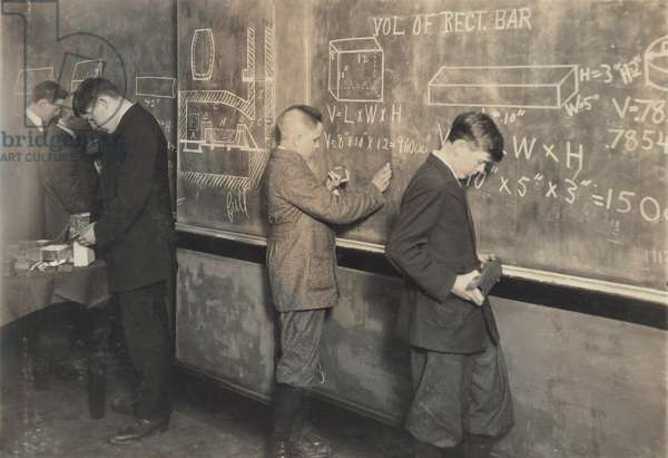 Boys at school, vocational printing, math class, Fall River, Massachusetts, photograph by Lewis Wickes Hine, June 14, 1916