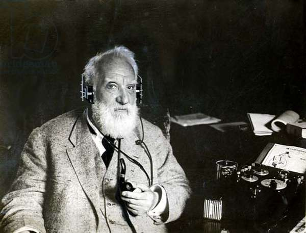 ALEXANDER G. BELL-At home listening to his radiophone set, 5-6-22.
