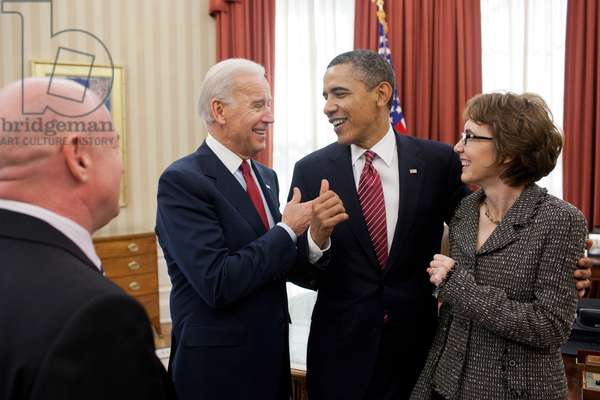 Pres. Obama and VP Biden with former Rep. Gabrielle Giffords and her husband, Mark Kelly. Feb. 10, 2012. They were in the Oval Office for the signing H.R. 3801, the Ultralight Aircraft Smuggling Prevention Act of 2012, the last piece of legislation that Giffords sponsored