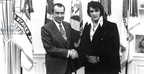 Richard Nixon meets with Elvis Presely at the Oval Office, December, 1970