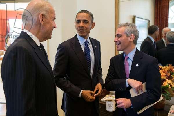 President Barack Obama and VP Joe Biden with newly elected Chicago Mayor Rahm Emanuel. Outer Oval Office, Nov. 16, 2012, shortly after Emanuel's election as Chicago's Mayor