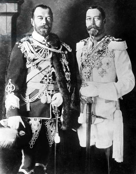 CZAR NICHOLAS II of Russia (L), and KING GEORGE V of England, c. mid 1800s