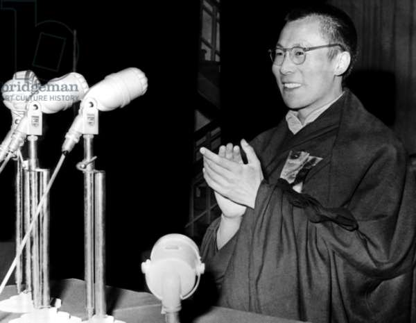 The Dalai Lama addresses an audience during the inauguration ceremony of the preparatory committee for the region of Tibet, 1956
