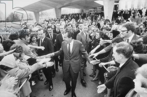President Nixon shaking hands with CIA employees after speaking at the CIA headquarters. March 7 1969