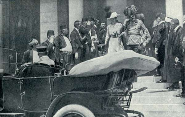 Archduke Franz-Ferdinand and his wife in Sarajevo, Bosnia. The heir to the Austrian throne is about to enter the open car in which he would be assassinated. June 28, 1914