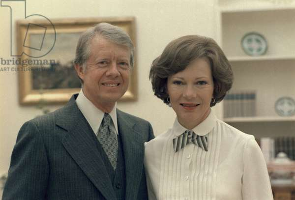 Rosalynn Carter and Jimmy Carter in the White House. c. 1977-1980