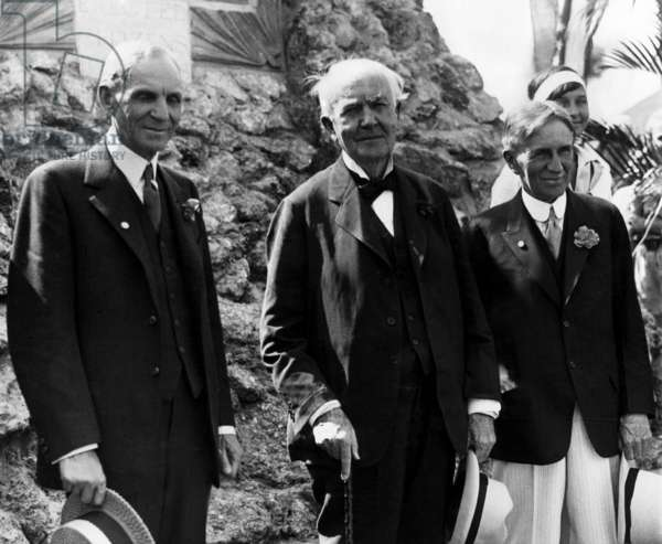 The Big Three: Henry Ford, Thomas Edison, and Harvey Firestone in Fort Meyers, Florida. c.1930.