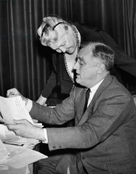FDR Presidency. Sara Delano Roosevelt (mother of FDR), with US President Franklin Delano Roosevelt, c.mid-1930s