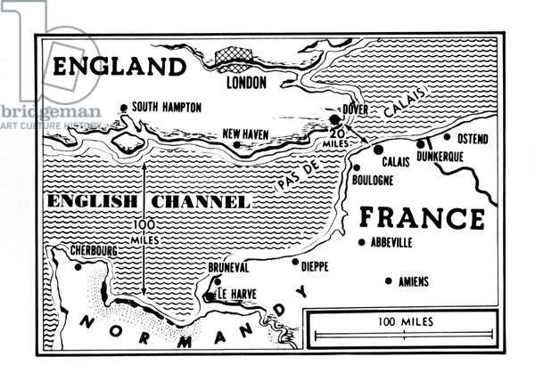 D-Day, map detailing Allies invasion, 1944