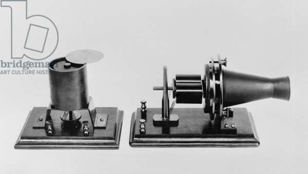 The first telephone developed and patented by Alexander Graham Bell in 1876. Replicas of the magnetic transmitter and receiver were exhibited at the Philadelphia Centennial Exposition, 1876