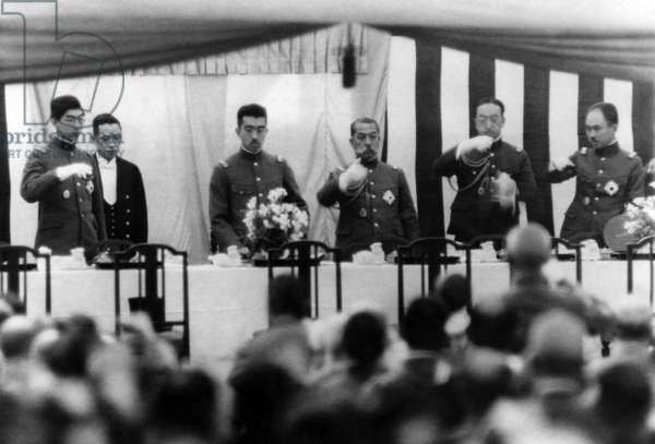 Prince Chichibu, Emperor Hirohito, Prince Kanyin, Prince Kaya, Prince Asaka during the 28th anniversary of the fall of Muken, during the Russo-Japanese War, at the Yasukuni shrine in Tokyo.
