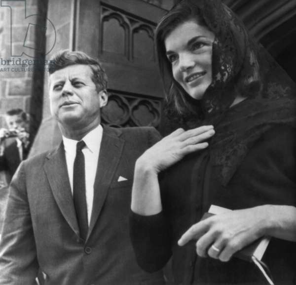 John F. Kennedy, Jacqueline Kennedy, leaving St. Mary's Roman Catholic Church, Newport Rhode Island, September 9, 1962