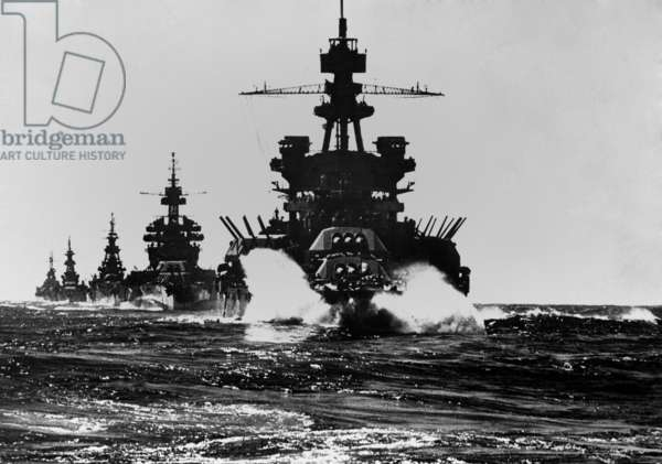 Battleship USS Pennsylvania is followed by three cruisers. They enter the Lingayen Gulf to support the U.S. Invasion of Luzon Island. Jan. 1945. Philippines, Pacific Ocean, World War 2