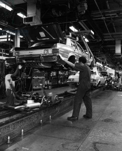Assembly line at Ford Motor Company, 1976