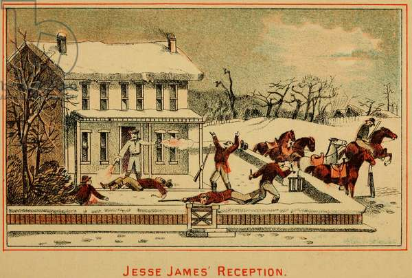 Scene of Jesse James shooting six men while resisting arrest at the Missouri home of his mother and stepfather in February 1867. Jesse was a fugitive because he committed atrocities against Union soldiers at he Centralia Massacre in September 1864