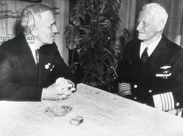 President Harry Truman, left, and Fleet Admiral Chester Nimitz, at the United Nations Conference in San Francisco, June 1945