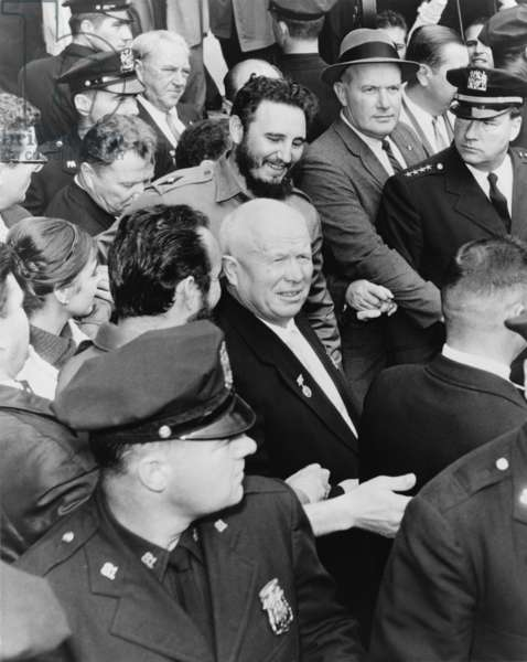 Fidel Castro and Nikita Khrushchev in the midst of a New York City crowd during the 1960 United Nations General Assembly