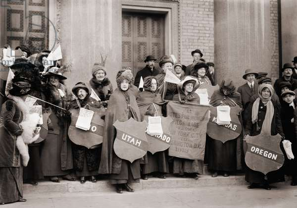 Women's Suffrage hikers who took part in the walk from New York City to Washington, D.C. to join the National American Woman Suffrage Association parade of March 3, 1913. The parade marked the beginning of an eight year national campaign for votes for women