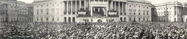 Panoramic photo of the inauguration of President Warren Harding (1865-1923) at the US Capitol on March 4, 1921