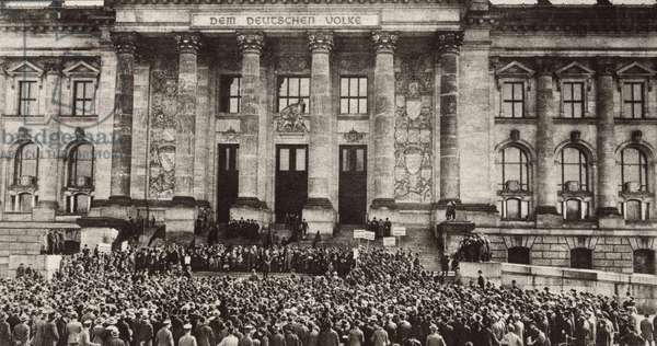 Berlin protest at the Reichstag against the Treaty of Versailles. 1919