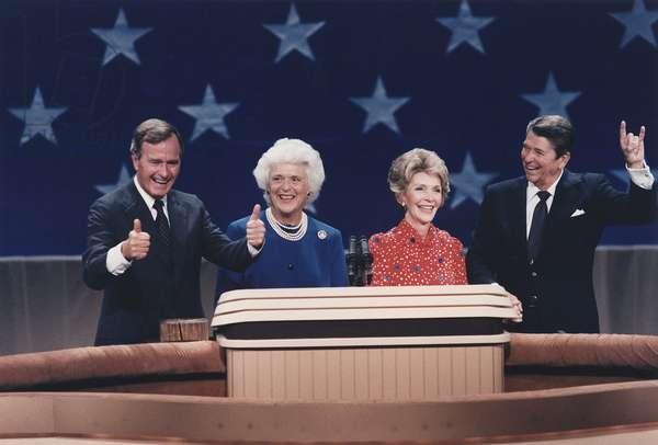 President Reagan Nancy Reagan Vice-President Bush and Barbara. Bush at the Republican National Convention Dallas Texas. August 23 1984. PO-USP-Reagan-Bush_NA-12-0107M