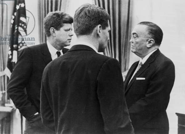 President John F. Kennedy, Attorney General Robert F. Kennedy, and FBI director J. Edgar Hoover, speak about increased wiretapping, February 24, 1961
