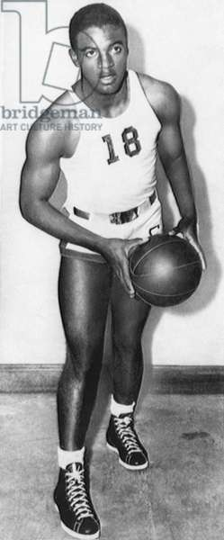 Future Brooklyn Dodger Jackie Robinson as All Conference basketball player for UCLA, 1939
