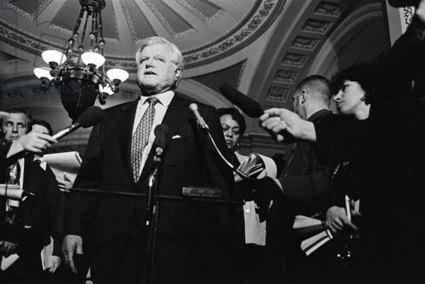 Senator Ted Kennedy speaks to reporters in the U.S. Capitol during Clinton Impeachment Trial. The trial started on Jan. 7, 1999, and ended with Clinton Acquittal on Feb. 12