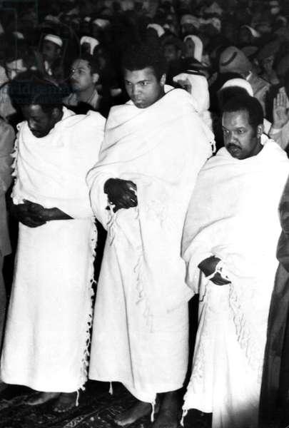 Muhammad Ali praying in the Holy Mosque in Mecca, Saudi Arabia, 1972