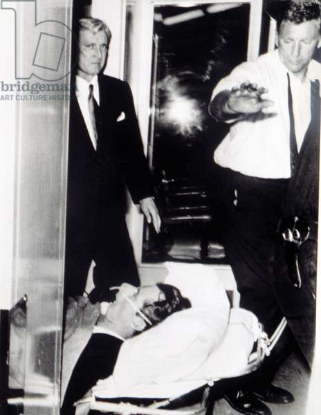 ROBERT KENNEDY, transported to hospital after being shot, June 5, 1968