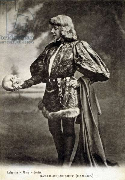 Sarah Bernhardt (1844-1923), French actress, in role of Shakespeare's Hamlet. 1887