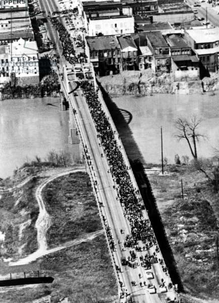 Civil Rights March (Selma to Montgomery March) over Pettus Bridge, Selma, Alabama, 03-21-1965.