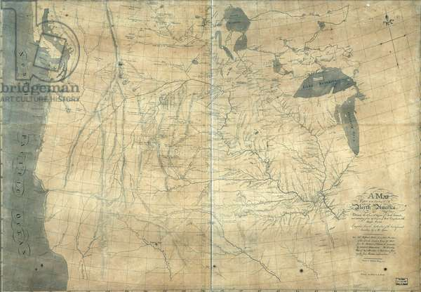 1805 Lewis and Clark map of part of the continent of North America compiled from informed travelers. Map covers western North America, from Great Lakes to the Pacific Ocean, including southern Canada and northern Mexico. Copied by Nicholas King from a sketch by William Clark, 1805
