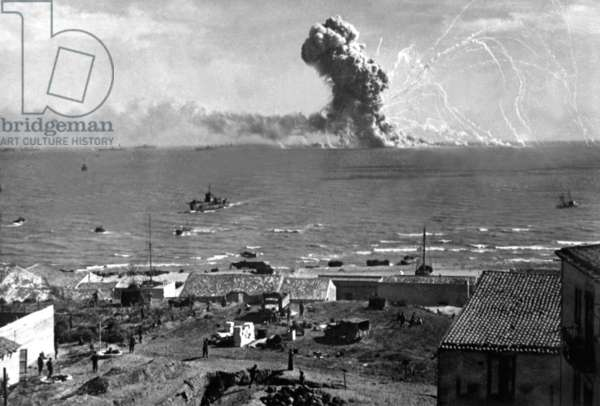 Liberty Ship SS Rowan explodes after being hit by a German bomb, near Gela, Sicily on July 11, 1943. July 11, 1943, Allied invasion of Sicily, World War 2