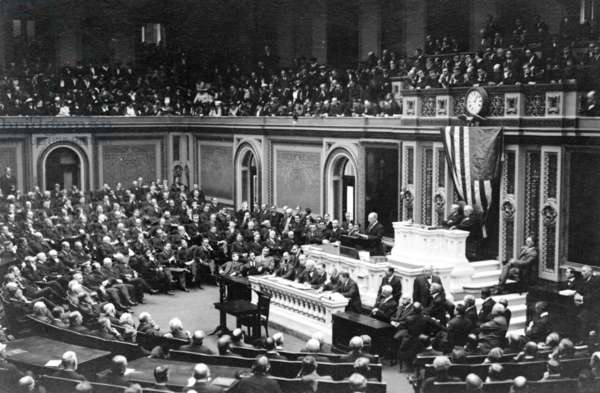 Woodrow Wilson (1856-1924) addressing Congress in 1917, the year the United States entered World War 1